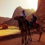 Rode camels back to the village