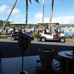 Main mode of transport is electric buggies. Also wonderful view from a cafe over the marina. :)
