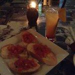 bruchetta and tropical drink