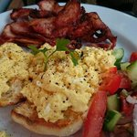 Simple scrambled eggs and bacon