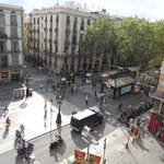 Early morning from our balcony overlook Las Ramblas
