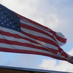A battered American flag