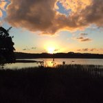 sunset over the lake at Bahia Surf Camp