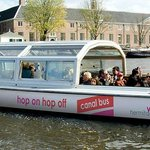 Canal Bus in front of Hermitage Amsterdam