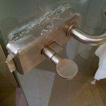 Door handle of bathroom with silicone
