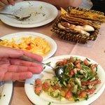 Starters of pumpkin hummus and Shepherd salad