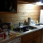 View of the kitchenette. A coffee maker was included, but we put it under the counter.