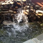 waterfall water feature on patio