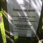 Notice on garden gate.
