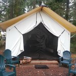 Outside of the tent. You can either tether the outside flaps up to let light in or zip it.
