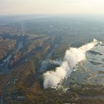 Victoria Falls from Helicopter. Border between Zambia & Zimbabwe