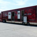 View of one of the 3 trailers the clydesdales travel in