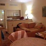 Living room side of 2-room suite