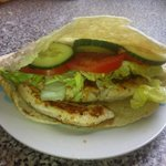 Seasoned chicken breast in pitta with salad and optional sweet chilli