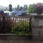 Room 102 view of the pool and Hurricane Arthur's rain