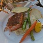 Salmon with asparagus with horseradish... Bomb food dot com. ������