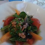 Starter of the day which was a shrimp and melon salad