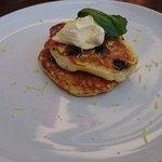 Blueberry pancakes with lemon mascapone