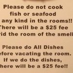$25 charge for not doing dishes or cooking seafood