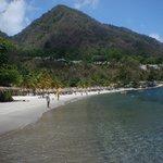 Sugar Beach between the pitons