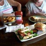 Lunch...salad & cheeseburger Quesadilla