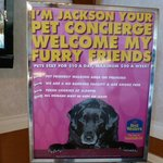 Pet Concierge Welcome sign in lobby