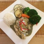 Delicious Thai chicken green curry with jasmine rice.