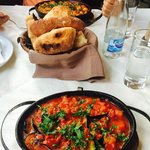 Eggplant with Tomatoes, Hot Bread with olive oil, Beans (highly recommend these dishes)