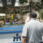 """looking at the """" lady of the lourdes """" statue"""