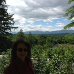 My wife Alice enjoying Thomas Cole's view of the Catskill Mts.