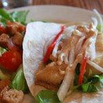 Fresh salad and catfish tacos - Factor's Row
