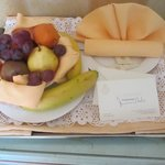 Welcome back bowl of fruit in room