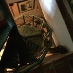 The spiral staircase to our room
