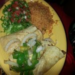 My son's 3 tacos w/rice