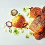 Pan Seared Char, chive oil, dill potato chips, aioli, pickled shallot