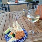 wine with pitta and home made humus