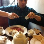 Hubby digging in to breakfast!