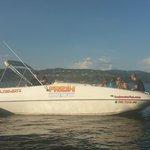 Coeur d'Alene Boat Rental:  Deckboat Side View