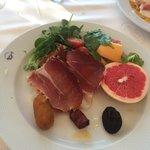 Parma ham, salad, fresh fruit, etc for breakfast