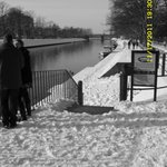 River Bankside covered in Snow