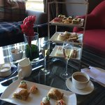The full sparkling Afternoon Tea for two by the window