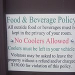 sign on gate- regarding no outside food and drink