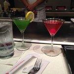 Martinis - green tea on left, cherry blossom on right