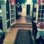 Dining area with Canada Day decorations