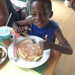 Thumbs up for the chocolate chip pancakes!