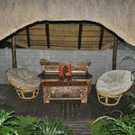 Quiet outdoor sitting area at Afrique