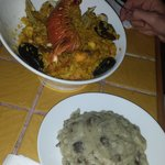 Seafood Paella with truffle potatoes