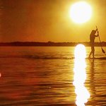 paddle boarding at Sunset Beach Resort on West Battle Lake
