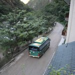 From our balcony, right on edge of town to Machu Picchu by bus.