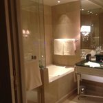 large shower and jacuzzi tub perfect for reenergizing sore feet